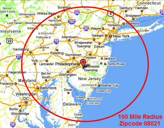100 Mile Radius Map ~ GOOGLESAIL